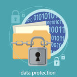 Data protection concept. Yellow folder and lock. Data security concept. Data protection and safe work. Concept in flat design style. Can be used for web banners Stock Photo