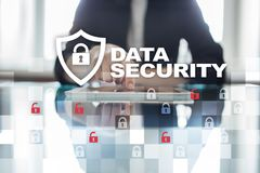 Data protection and cyber security concept on the virtual screen.  Stock Photos