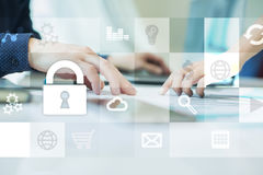 Data protection and cyber security concept on the virtual screen.  Royalty Free Stock Images