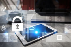 Data protection and cyber security concept on the virtual screen.  Royalty Free Stock Photo