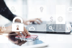 Data protection and cyber security concept on the virtual screen. Data protection and cyber security concept on the virtual screen Stock Photo
