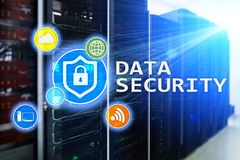 Data protection, Cyber security, information privacy. Internet and technology concept. Server room background.  royalty free stock images