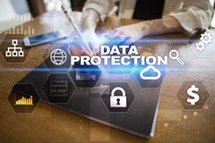 Data protection, Cyber security, information safety and encryption. Internet technology and business concept.  Virtual screen with padlock icons Royalty Free Stock Photography