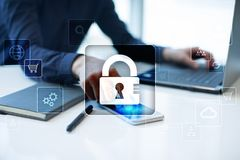 Data protection, Cyber security, information safety and encryption. internet technology and business concept. Virtual screen with padlock icons royalty free stock images