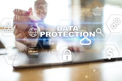 Data protection, Cyber security, information safety and encryption. Internet technology and business concept.  Virtual screen with padlock icons Stock Image
