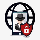 Data protection and cyber security system design. Smartphone hacker global shield and padlock icon. Data protection cyber security system and media theme vector illustration