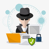 Data protection and Cyber security system. Hacker thief file envelope document shield and padlock icon. Data protection cyber security system and media theme Stock Photo