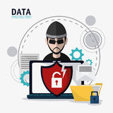 Data protection and Cyber security system. Hacker thief shield file padlock and laptop icon. Data protection cyber security system and media theme. Colorful Royalty Free Stock Photos