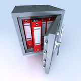 Data protection. 3D rendering of ring binders on a safe deposit box Stock Photo