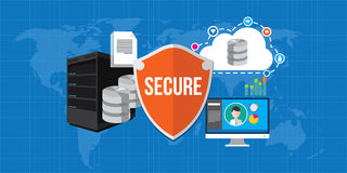 Data protection database security internet shield. Illustration Stock Images