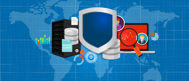 Data protection database security internet shield. Data protection database security internet vector secure Stock Photo