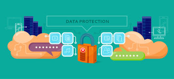 Data Protection Design Flat Concept. Data security privacy, security data stream backup, technology web, internet information data protection vector Stock Photos