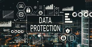Data protection with downtown LA Royalty Free Stock Images