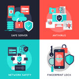 Data Protection Flat Compositions. With safe server antivirus secure network fingerprint lock  vector illustration Stock Photos