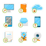 Data protection flat icon set. Protection data,  computer internet, cloud and network, security device and storage hardware. Vector illustration Stock Photo