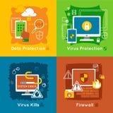 Data Protection Flat Icon Set Stock Photos