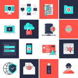 Data Protection Flat Icons Set. With safe network antivirus fingerprint scanner hacker email account isolated vector illustration Royalty Free Stock Images