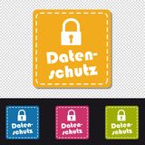 Data Protection German Square Buttons - Colorful Vector Illustration - Isolated On Transparent Background royalty free illustration