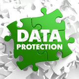 Data Protection on Green Puzzle. Royalty Free Stock Images