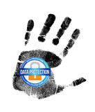 Data protection and handprint illustration design. Over a white background Stock Image