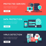 Data Protection Horizontal Banners Set. With secure servers information safety virus detection isolated vector illustration Stock Photos