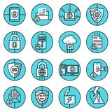 Data protection icons blue line Royalty Free Stock Image