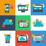 Data Protection Icons Set on Colored Background Stock Photography
