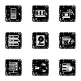 Data protection icons set, grunge style. Data protection icons set. Grunge illustration of 9 data protection vector icons for web Royalty Free Stock Image