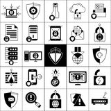 Data Protection Icons Set. Data protection line black white icons set with shields locks and mail flat isolated  vector illustration Stock Images
