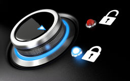 Data Protection. Image. Conceptual illustration with a button and two padlock over black background. Blur effect and blue light Stock Image