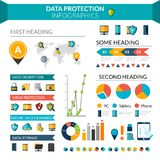 Data Protection Infographics. Set with safe information storage symbols and chart vector illustration Royalty Free Stock Photo