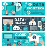 Data protection cloud web sharing vector banners Stock Photos