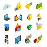 Data Protection Isometric Icons Set Stock Images