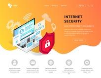 Data protection landing page orange stock illustration