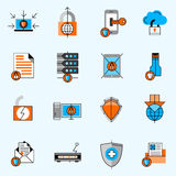 Data Protection Line Icons Set. With locks and shields flat  vector illustration Royalty Free Stock Image