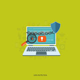 Data protection. And on line security concept. Flat illustration royalty free illustration