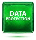 Data Protection Neon Light Green Square Button vector illustration