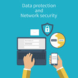 Data protection and Network security. Concepts web protection. Flat design. Laptop and smartphone connection for security reasons. Vector illustration Royalty Free Stock Photography