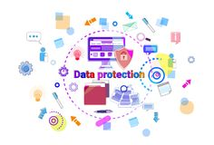 Data Protection Online Secutiry Concept Protection Banner. Vector Illustration Stock Images