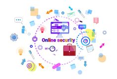 Data Protection Online Secutiry Concept Protection Banner. Vector Illustration Royalty Free Stock Photography