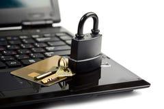 Data protection padlock laptop card key Royalty Free Stock Photography