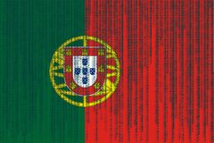 Data protection Portugal flag. Portugal flag with binary code. Royalty Free Stock Images