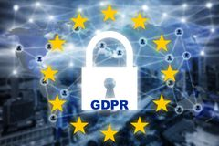 Data protection privacy concept. GDPR. EU. Cyber security network. Padlock icon and internet technology networking connection on royalty free stock images