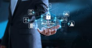 Data protection privacy, GDPR. EU. Cyber security network
