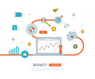 Data protection and safe work. Business protection. Flat shield icon. Data safety. Investment security. Investment growth. Investment management. Strategy for Stock Images