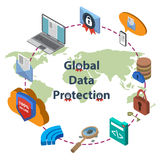 Data protection and safe work. Flat 3d web isometric online safety, data protection and safe work.  Isolated on  white background Royalty Free Stock Photography
