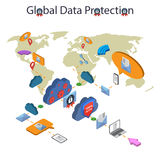 Data protection and safe work. Flat 3d web isometric online safety, data protection and safe work.  on  white background Royalty Free Stock Images