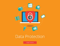 Data protection and safe work. Flat design vector Royalty Free Stock Photography