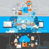 Data Protection Security Banners. Business cloud data computing security and server virus protection banner design elements vector illustration Royalty Free Stock Photography