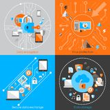 Data Protection Security Concept. Business data protection technology and cloud network security concept infographic design elements vector illustration Royalty Free Stock Images
